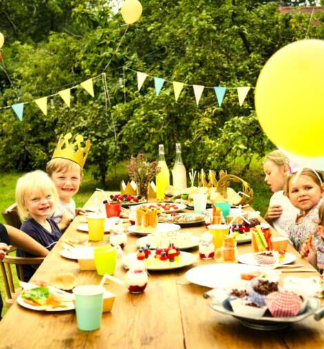 Kids enjoying the party in the garden